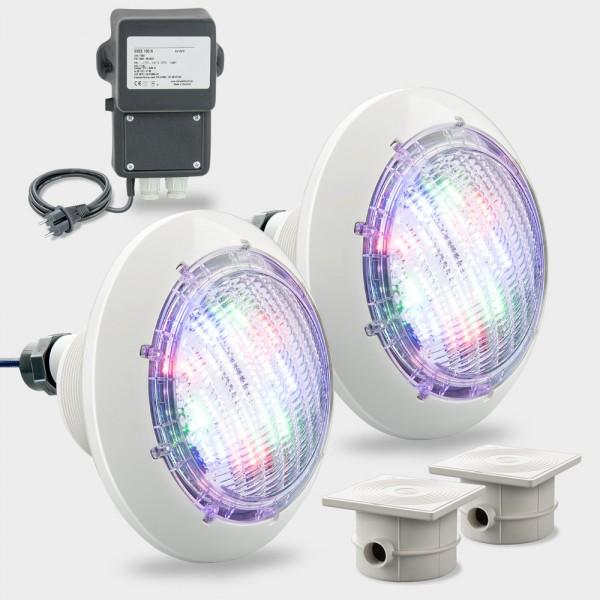 Set 2 x LED Poolscheinwerfer RGB COMPACT POWER