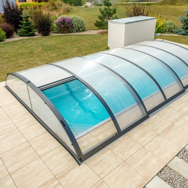 Poolüberdachung POOLSANA PRoof COMPACT 3 Anthrazit | 8,64 x 4,95 x 0,85 m