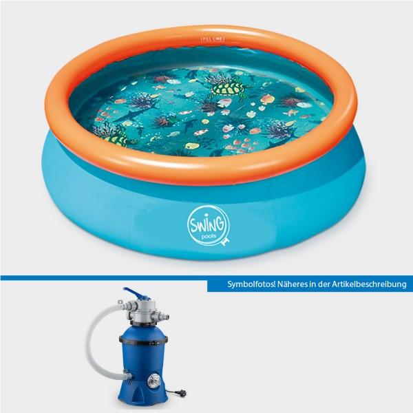 Quick-Up-Pool Set PRONTO 305 x 76 cm 3D mit Sandfilteranlage PURE Eco