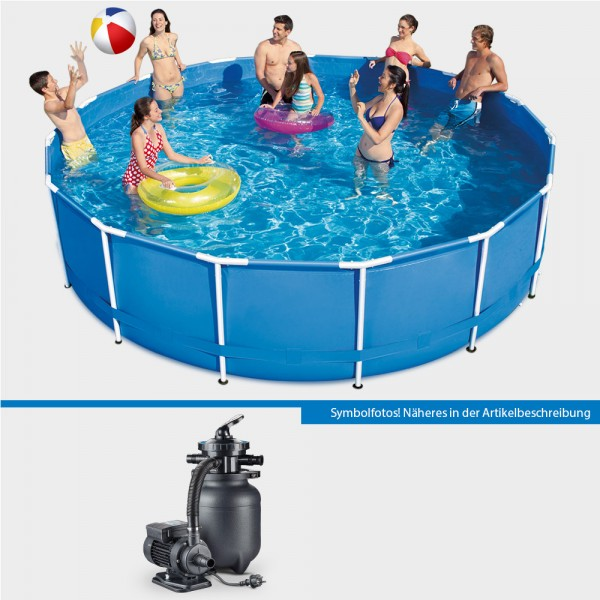 Frame Pool Set POLE Rund 366 x 91 cm mit Sandfilteranlage PURE 260