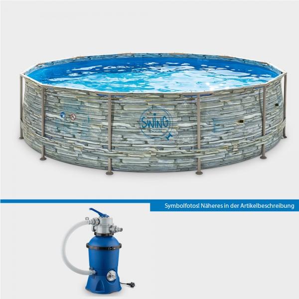 Frame Pool POLE STONE Rund 366 x 91 cm mit Sandfilteranlage PURE Eco