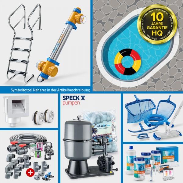 Stahlwand-Ovalpool PS HQ 8,00 x 4,00 x 1,50 m mit Alu-Handlauf + Folie blau | PERFECT-Set