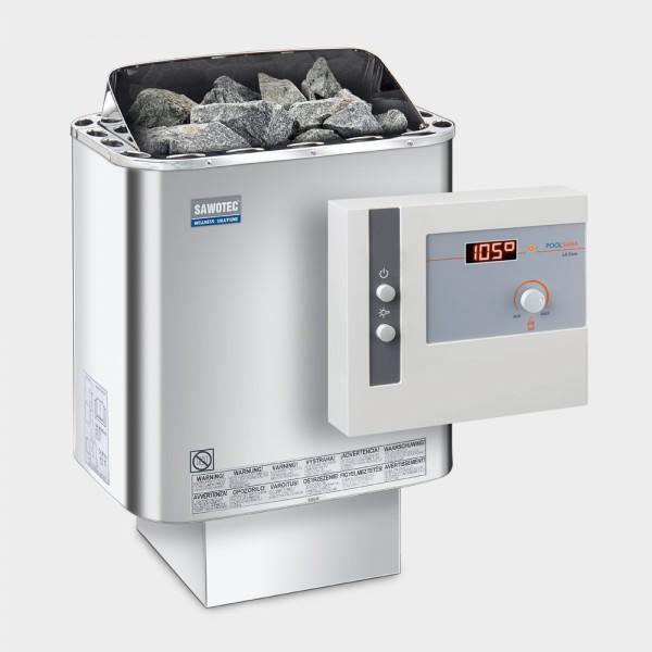 Saunaofen-Set Nordex Next 6 / 8 kW 400 V + Saunasteuerung POOLSANA L2 Core
