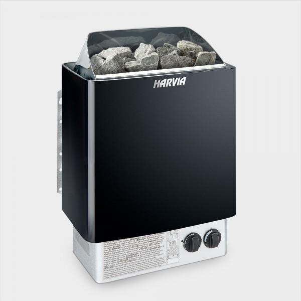 Saunaofen Harvia Trendi Black 6 kW 400 V mit angebauter Steuerung