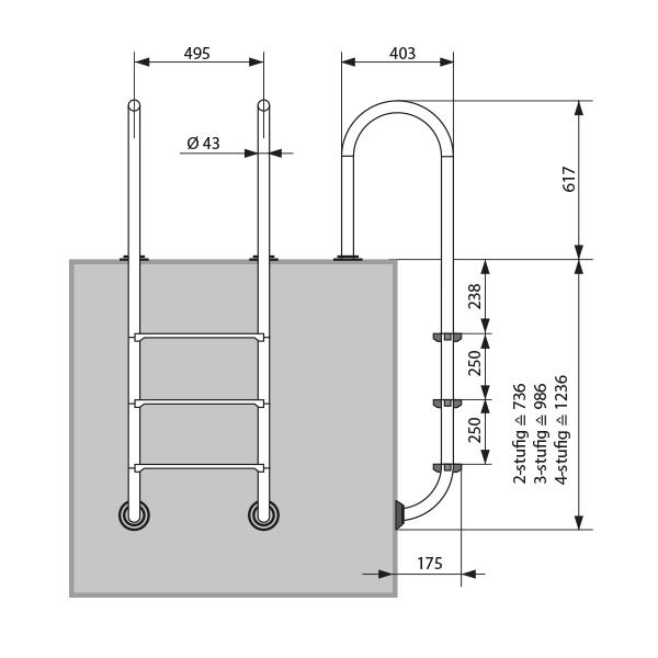 Abmessungen Pool-Leiter Plus