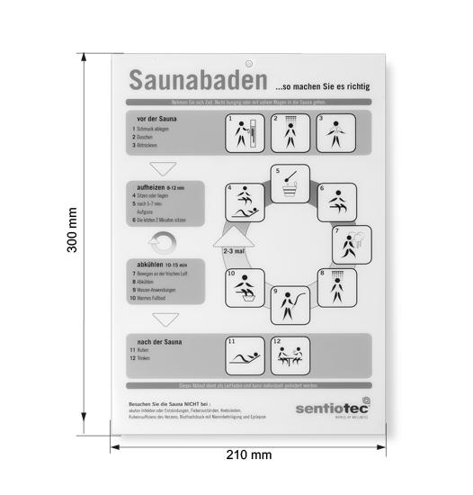 Abmessungen Sauna Baderegeltafel Kunststoff