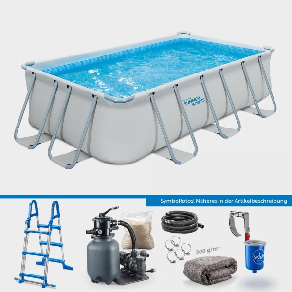 Frame Pool ELITE Rechteck 400 x 200 x 100 cm PROTECT PLUS-Set