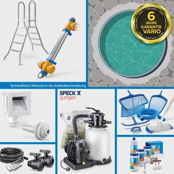 Rundpool PS VARIO 3,60 x 1,20 m Folie sand + Alu Handlauf PROFI-Set | Freiaufstellung/Teileinbau