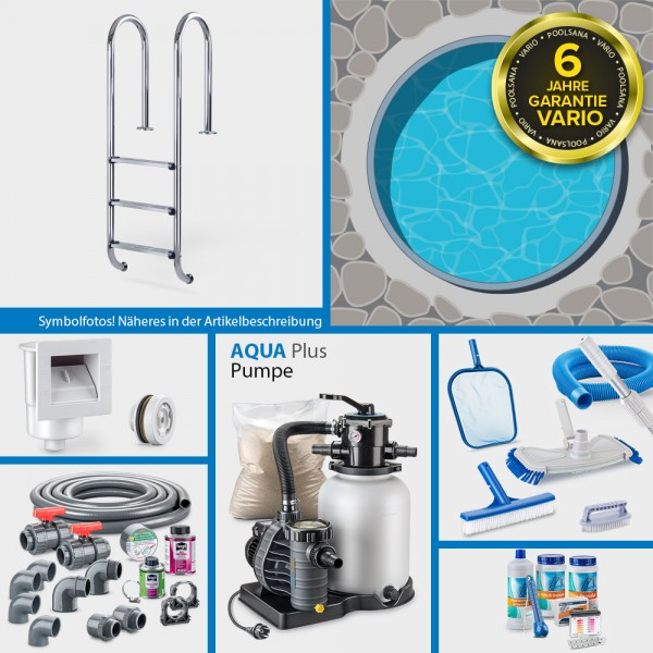 Rundpool PS VARIO 4,60 x 1,20 m Folie blau + Alu Handlauf COMFORT-Set | Kompletteinbau