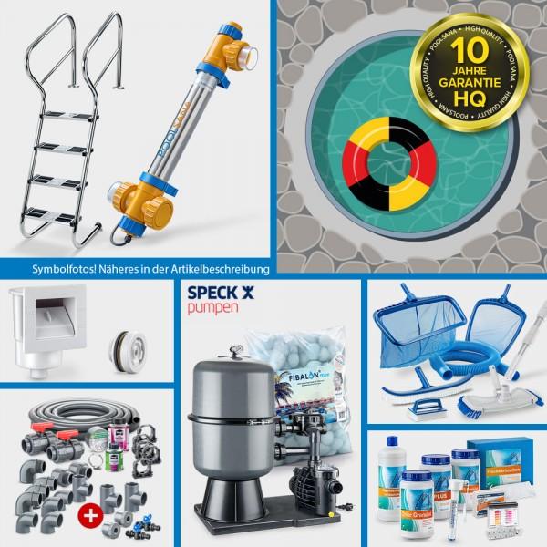 Stahlwand-Rundpool PS HQ 6,00 x 1,50 m Folie 0,8 mm sand PERFECT-Set | Teil-/Kompletteinbau