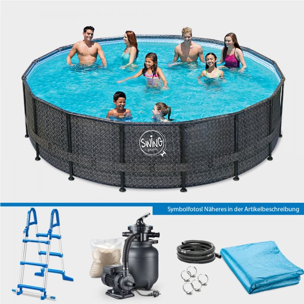 Frame Pool PRIME Rund Wicker dark 427 x 107 cm PROTECT PURE-Set