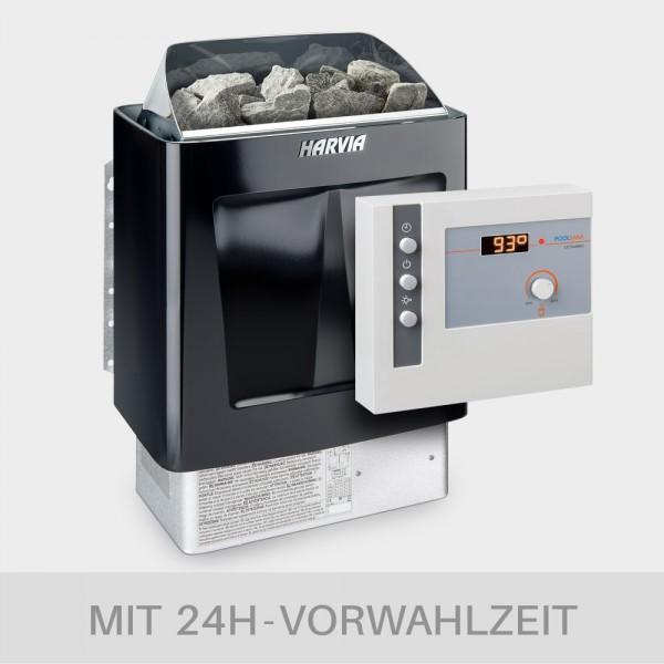 Saunaofen-Set Harvia Trendi Black 6 / 8 / 9 kW 400 V + Saunasteuerung POOLSANA L2 Comfort