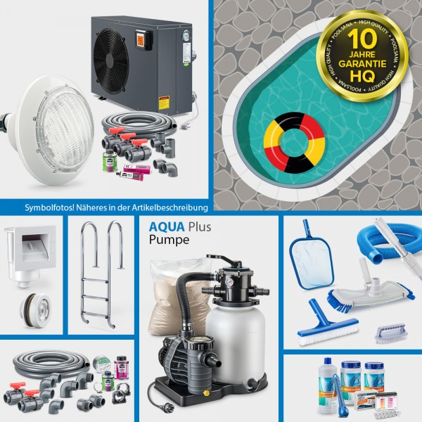 Ovalpool PS HQ 6,00 x 3,20 x 1,50 m mit Alu-Handlauf | Folie sand 0,8mm | PROMO-Set PRIME