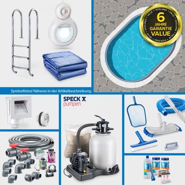 Stahlwand-Ovalpool PS VALUE 5,25 x 3,20 x 1,20 m Folie blau + Alu-Handlauf PROMO-Set Jubilee