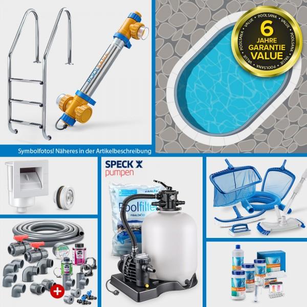 Stahlwand-Ovalpool PS VALUE 5,25 x 3,20 x 1,20 m Folie blau + Alu-Handlauf PROFI-Set