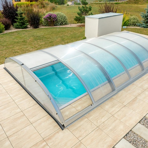 Poolüberdachung POOLSANA PRoof COMPACT 3 Elox | 8,64 x 4,95 x 0,85 m