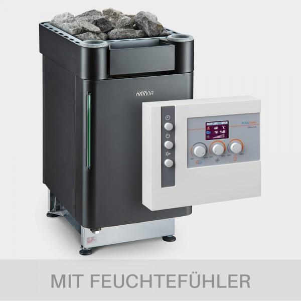 Kombiofen-Set Harvia Senator Combi 9kW 400V BLACK EDITION + Steuerung Clima LUX + Feuchtefühler