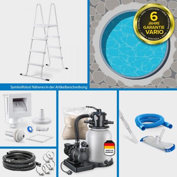 Rundpool PS VARIO 5,00 x 1,20 m Folie blau + Alu Handlauf ADVANTAGE-Set   Freiaufstellung/Teileinbau