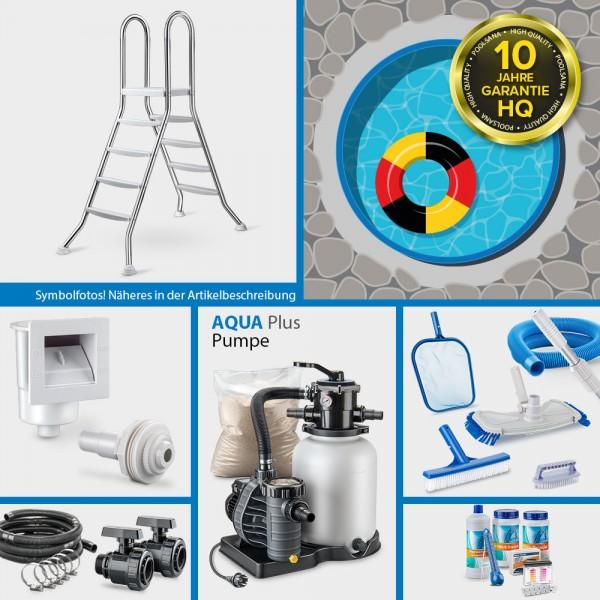 Stahlwand-Rundpool PS HQ 5,00 x 1,35 m Folie 1,0 mm blau PLUS-Set | Freiaufstellung/Teileinbau