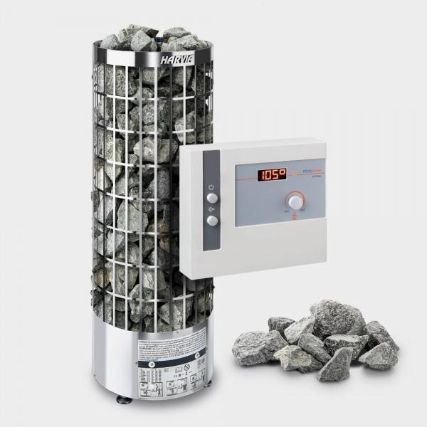 Saunaofen-Set Harvia Cilindro E (offen) 9 kW 400 V + Steuerung POOLSANA L2 Core + 100 kg Saunasteine