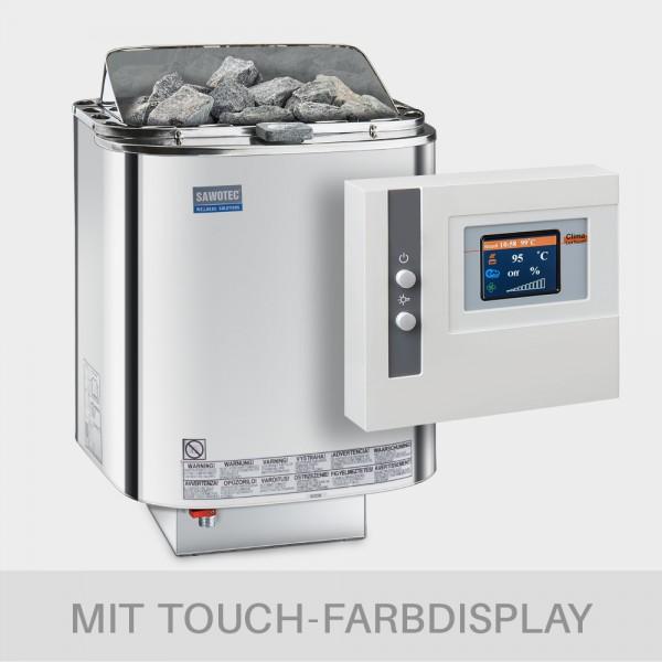 Bio-Kombiofen-Set Nordex Combi 9 kW + Saunasteuerung POOLSANA Clima Lux Touch