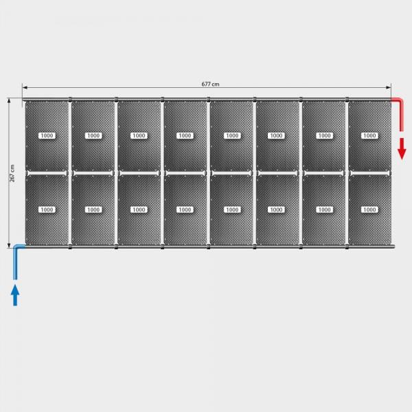 Pool-Solarheizung POOLSANA OKU Set 32a | Flachdachmontage