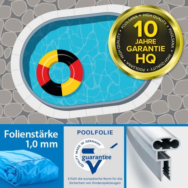 Einzelbecken Stahlwand-Ovalpool POOLSANA HQ 8,00 x 4,00 x 1,50 m | Alu-Handlauf | Folie 1,0 mm blau