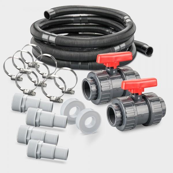 Schlauchverrohrungs-Set Ø 38 mm für Entfernung Becken-Filter max. 6 m | Inkl. Absperrhahn-Set