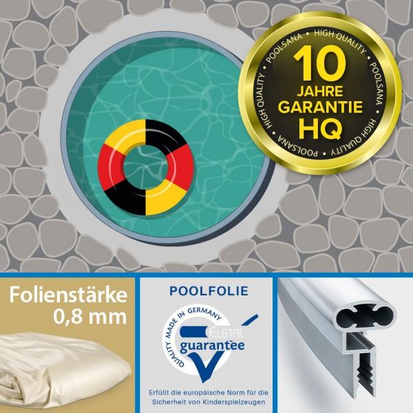 Einzelbecken Stahlwand-Rundpool PS HQ 3,50 x 1,20 m mit Alu-Handlauf | Folie 0,8 mm sand