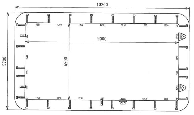 Skizze Indrapool 9,00 x 4,50 m