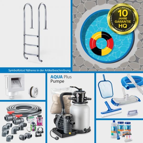 Stahlwand-Rundpool PS HQ 6,00 x 1,50 m Folie 1,0 mm blau PLUS-Set | Teil-Kompletteinbau