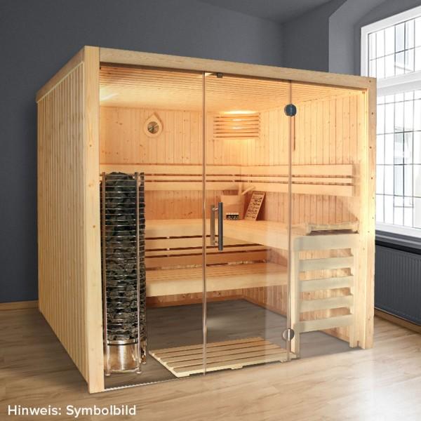 Top-Hit: Iso-Sauna POOLSANA Vitrum Iso 210 x 210 x 202 cm | Inkl. Vielstein-Saunaofen und LED-Licht