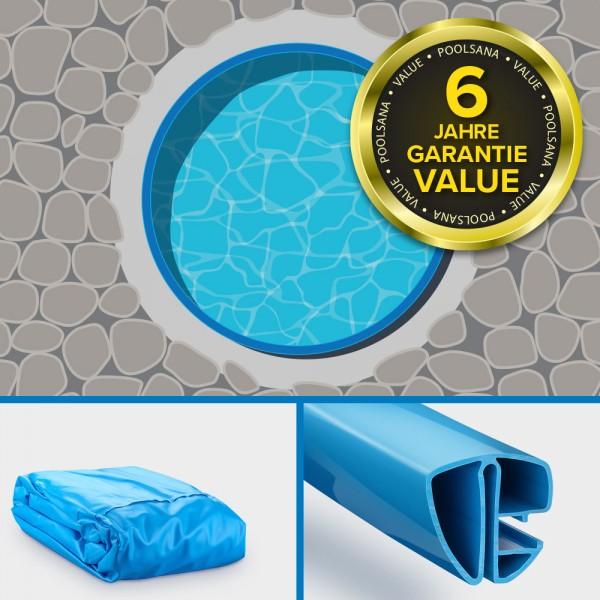 Einzelbecken Stahlwand-Rundpool PS VALUE 3,20 x 1,20 m | Folie + Handlauf blau