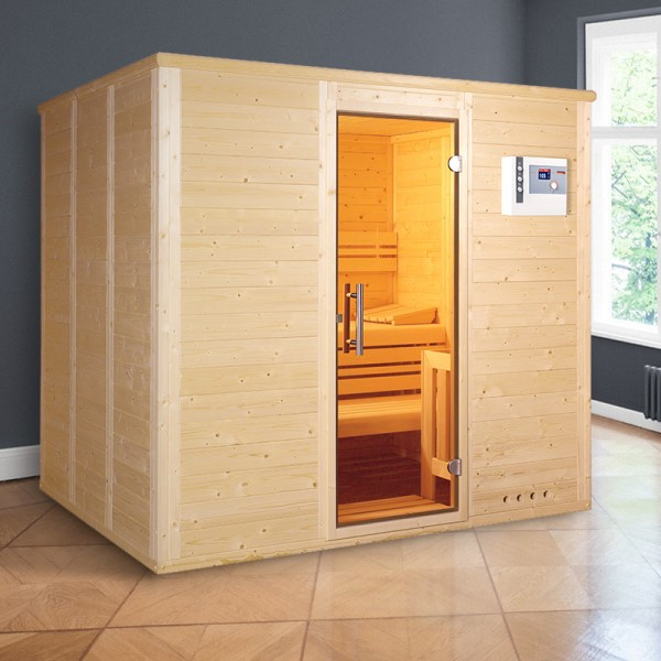 POOLSANA-Massivholzsauna Comfort Massiv 58 mm 200 x 160 x 200 cm