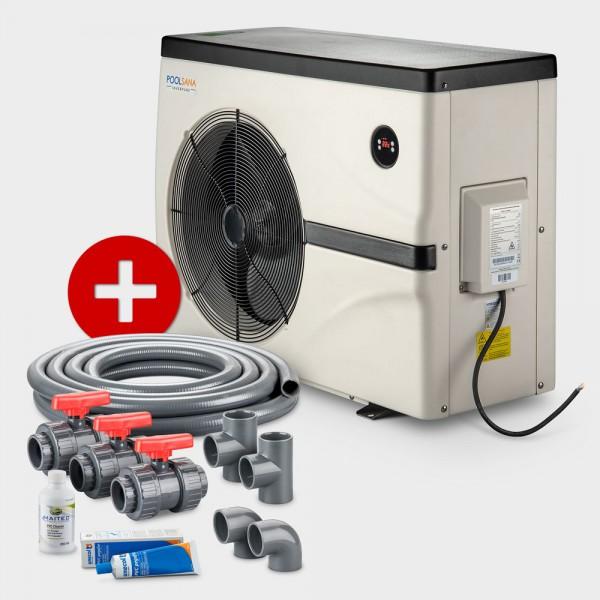 Pool Full-Inverter-Wärmepumpe POOLSANA InverPURE 7 + Anschluss-Set 50 mm