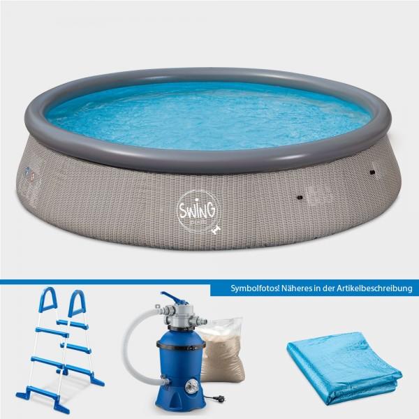 Quick-Up-Pool PRONTO Wicker 366 x 91 cm PURE-Set