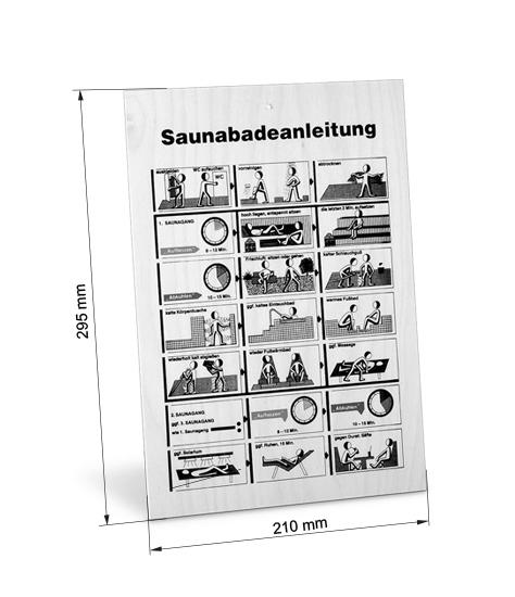Abmessungen Sauna Baderegeltafel Holz