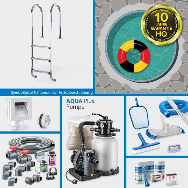 Rundpool PS HQ 4,00 x 1,35 m | Alu-Handlauf | Folie 0,8mm sand PLUS-Set | Teil-/Kompletteinbau