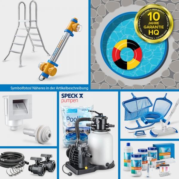 Stahlwand-Rundpool PS HQ 3,50 x 1,20 m Folie 1,0 mm blau PROFI-Set   Freiaufstellung/Teileinbau