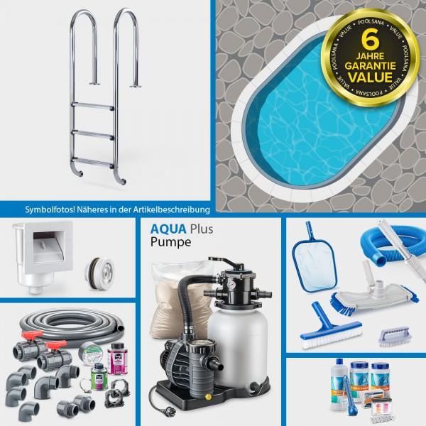 Stahlwand-Ovalpool PS VALUE 5,25 x 3,20 x 1,20 m Folie blau + Alu-Handlauf PLUS-Set