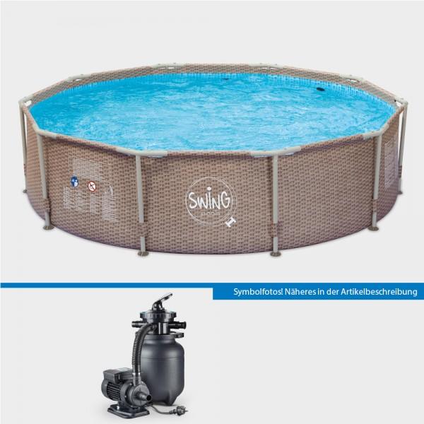 Frame Pool Set POLE Wicker Rund 305 x 76 cm mit Sandfilteranlage PURE 260