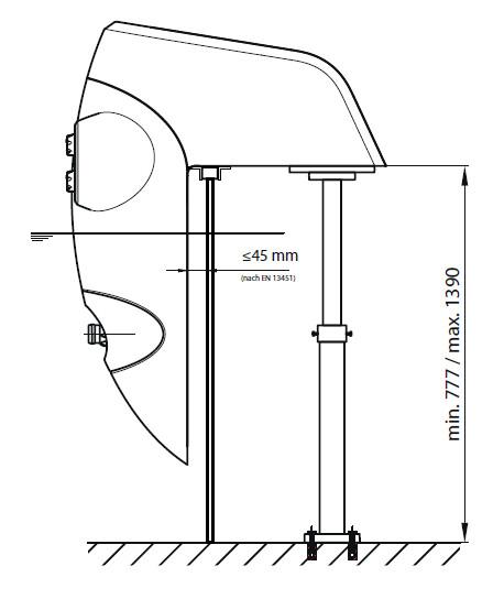 Abmessungen Stützfuß für Einhänge-Gegenstromanlage Perla/Riva