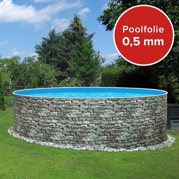 Einzelbecken Rundpool POOLSANA STONE 3,60 x 0,90 m Folie 0,5 mm