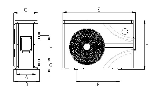 Abmessungen POOLSANA Wärmepumpe InverPURE