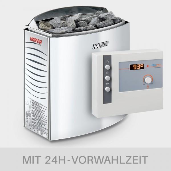 Saunaofen-Set Harvia Vega 6 / 8 / 9 kW 400 V + Saunasteuerung POOLSANA L2 Comfort