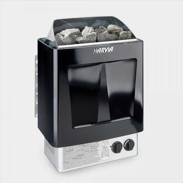 Saunaofen Harvia Trendi Black 8 kW 400 V mit angebauter Steuerung