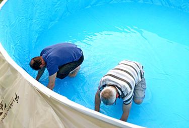 Aufbau von stahlwand pools in 9 schritten poolsana der for Stahlwand rundpool komplettset