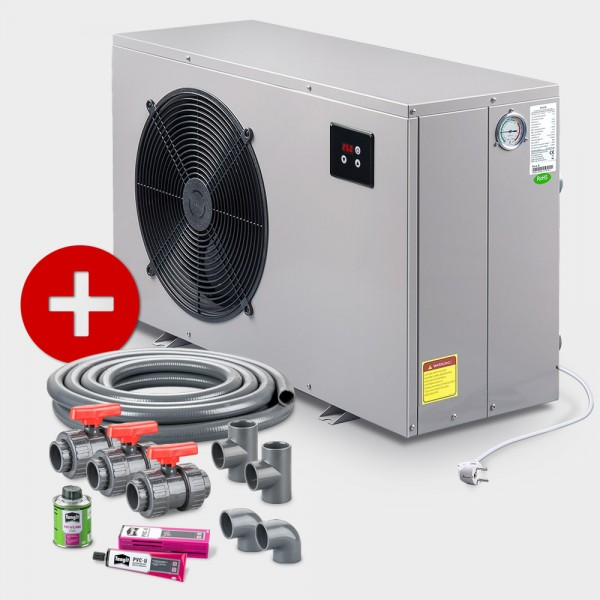 Poolheizung Wärmepumpe POOLSANA PURE 8 + Anschluss-Set 50 mm