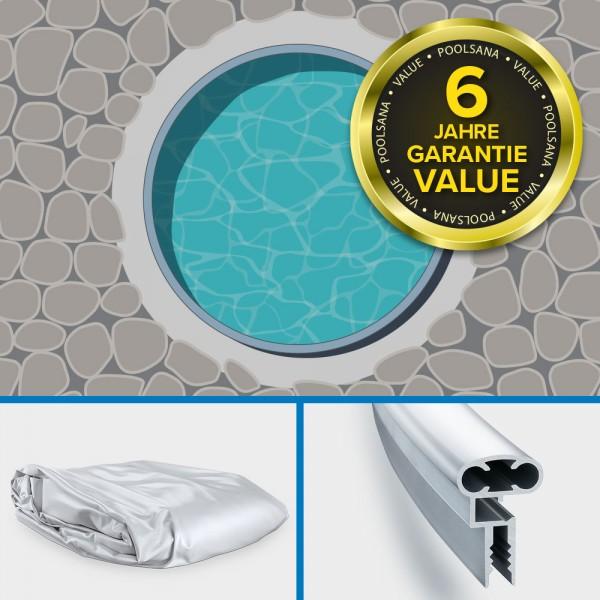 Einzelbecken Stahlwand-Rundpool PS VALUE 3,60 x 1,35 m | Folie grau + Aluminium Handlauf