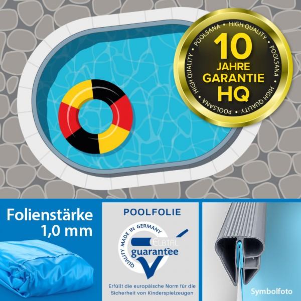 Einzelbecken Stahlwand-Ovalpool POOLSANA HQ 8,00 x 4,00 x 1,50 m | Folie 1,0 mm blau
